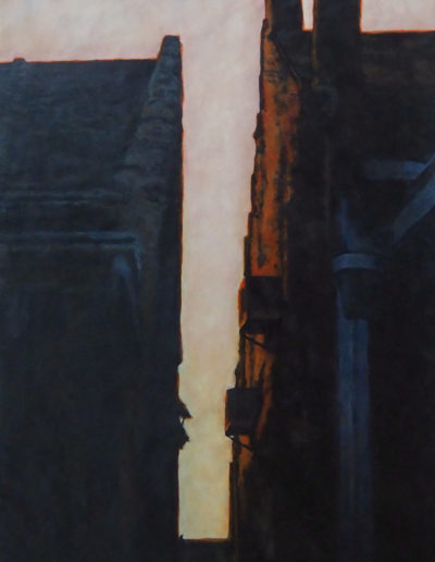 Dusk in the City - One Lone Bird - Encaustic - 30x24