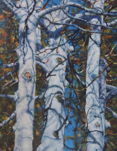 Mom's Birch - Encaustic - 36x24